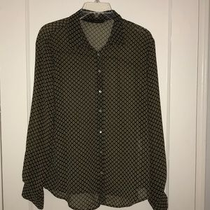 Sheer Green Pattern Zara Buttondown